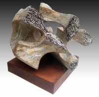 """MORFEO (Morpheo) by Juan Ramon Gimeno -  Ceramic Sculpture (2012)  Stoneware and porcelain colored with oxides or pigments.  Fired at 2300 ° F - 1260 ° C- cone 8 15"""" x13 3/4 """"x 12""""  IB 11""""x 11""""x2 3/8"""" ht 14 3/8 """"  SOLD Private collection, Carmel, California USA"""