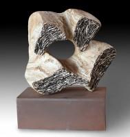 "SOMNI  (Dream, catalan language) by Juan Ramon Gimeno - 14.5"" x12.5""x7.8"" Corten steel base 12.9""x7.6""x4.7"" total height 17.34""Ceramic Sculpture"