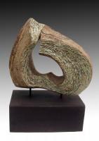 "BARBECHO (fallow) by Juan Ramon Gimeno - Ceramic Sculpture (2012)  14.9/16"" x 13""x7"" corten steel b. 13""x7.11/16""x4.3/4"" total height 19.1/4"""