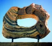 "LEJOS DE CASA (away from home) by Juan Ramon Gimeno -  Sculpture (2006)  Ceramic: 16.11/16"" x 23.5/8"" x 7"" wood 1.3/4"" x 27.15/16"" x 6"" total height 25"""