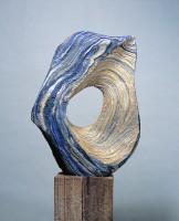 "EL OJO DEL HURACAN (The eye of the hurricane) by Juan Ramon Gimeno -2000 -  25.9/16"" x 20.1/2"" x 11.13/16 "" wood base 43.5/16"" x 13"" x 10.5/8"" total height 68 7/8"""