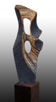 "SIROCO  bay Juan Ramon Gimeno- Ceramic Sculpture (2003) Ceramic:. 31.1/16"" x 11.13/16"" x 7.1/2"" iron b.35.7/16"" x 7.7/8"" x 7.7/8"" total height 66.15/16"""
