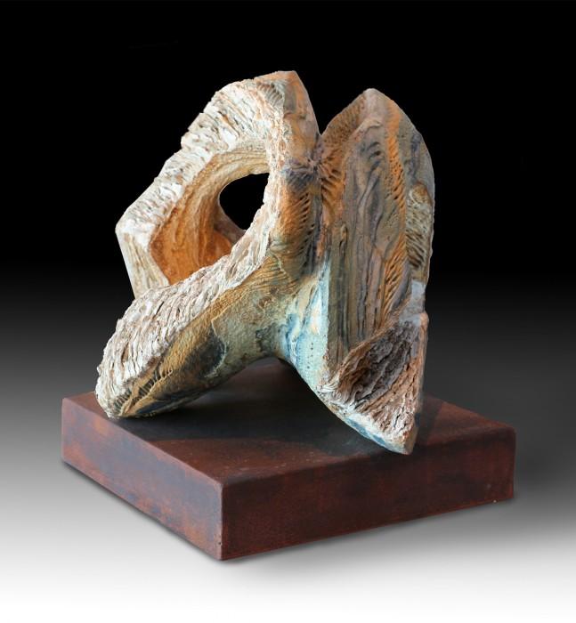 "YUNTA (Yoke) by Juan Ramon Gimeno - 14.17"" x 14.17""x 12.2 "", Corten steel. 12.2"" x 12.2"" x 2.36"" total height 14.56"" Ceramic sculpture"