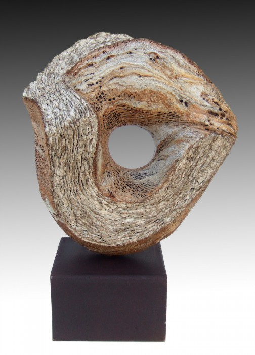 "ACINIPO by Juan Ramon Gimeno - Ceramic Sculpture (2012)  c 15. 3/4"" x 9"" x  15. 3/4"" total height 18.3/4"" Wood stand (Red Oak) 8"" x 6.3/4"" x 3"""