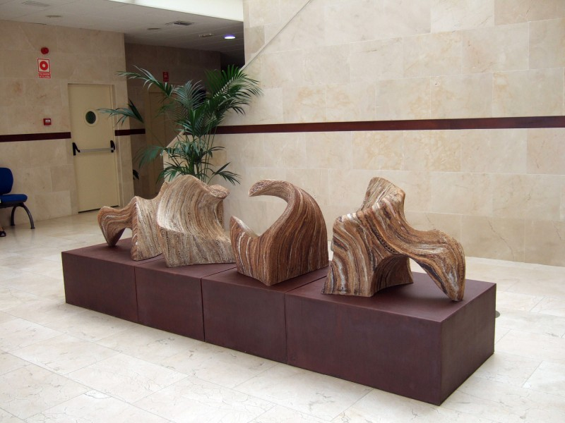 "ENCUENTROS (Meetings) by Juan Ramon Gimeno  - (2008)  weathering steel 122"" x 31"" x 15 3/4"" total height 43.5/16"""
