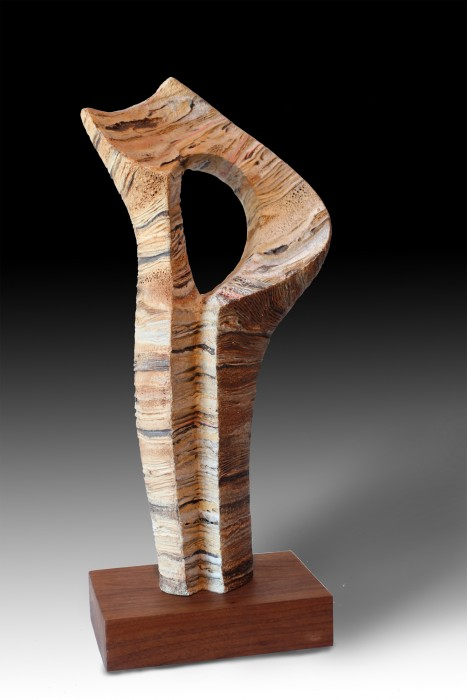 "GEA # 2 by Juan Ramon Gimeno -  Ceramic Sculpture (2013)  Stoneware and porcelain colored with oxides or pigments.  Fired at 2300 ° F - 1260 ° C- cone 8  9.7/8""x 5. 1/8"" x 20. 7/8"" total height 23"" Wood stand (walnut) 5.7/8"" x 9. 1/8"" x 2. 1/8"""