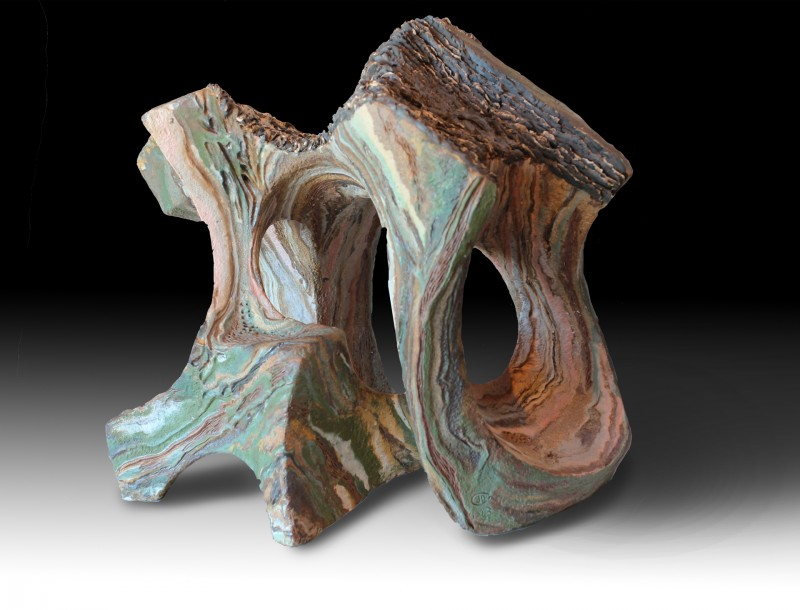 "WET FOREST SCENT (Olor a bosque humedo) by Juan Ramon Gimeno - Ceramic Sculpture (2013)  Stoneware and porcelain colored with oxides or pigments.  Fired at 2300 ° F - 1260 ° C- cone 8 17. 3/8"" x 13. 3/8"" x 15. 3/4"""