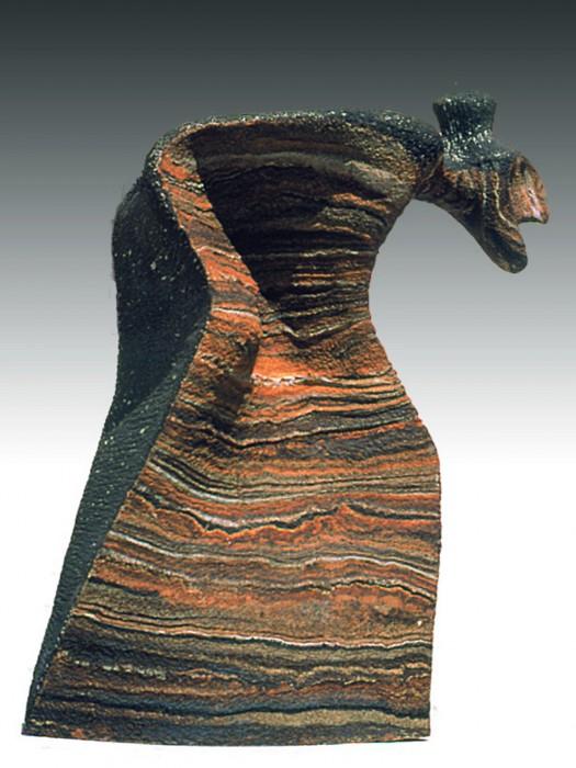 "ESTOY HASTA EL MOÑO DE SUBIR CUESTAS (I'm sick and tired (up to the bun) of climbing hills) by Juan Ramon Gimeno - Sculpture (1995) Ceramic: 28.3/4 x 22.13/16"" x 14.9/16"""