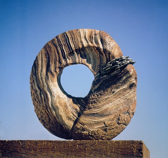 "INDICE DE AUDIENCIA (Audience index) by Juan Ramon Gimeno - Sculpture (1994) Ceramic:  22.7/16"" x 20.7/8"" x 5.7/8"" wood 26"" x 9.13/16"" x 8.11/16"" total height 48.7/16"""