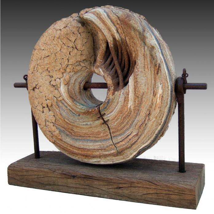 "RUEDA DE MOLINO (Millwheel) by Juan Ramon Gimeno -  Sculpture (2000) Ceramic: 21.5/8"" x 21.5/8 "" x 5.7/8"" wood 2.15/16 "" x 27.15/16"" x 9.7/16"" Nakatomi Museum of Contemporary Fine Craft NAKATOMI (Yamanashi) JAPAN"