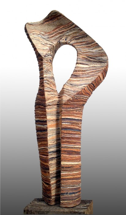 "GEA by Juan Ramon Gimeno - 2001) Ceramic: 72. 7/16"" x 27. 9/16"" x 17.3/4"" concrete pedestal 43.5/16"" total height 115.3/4"""
