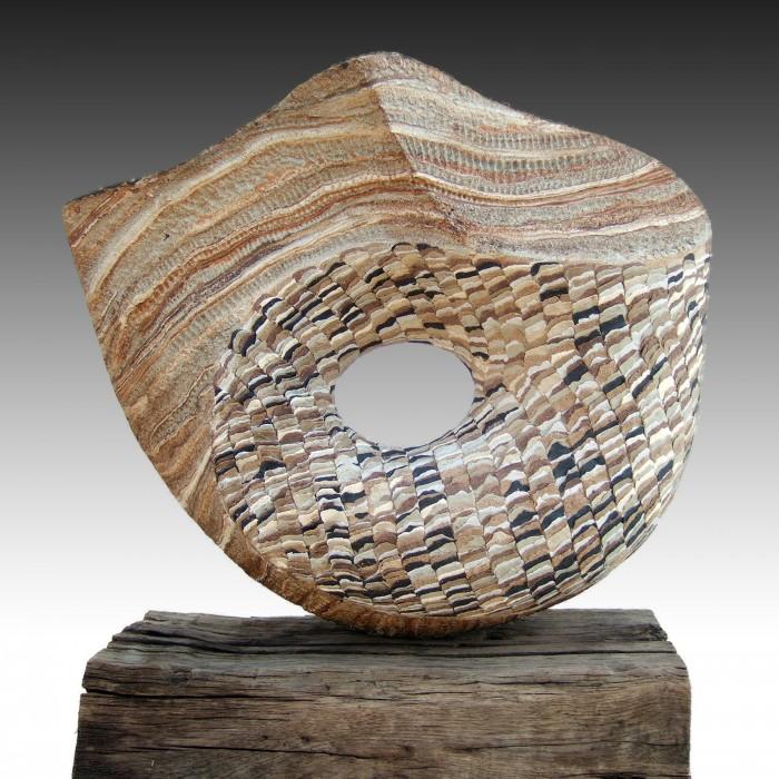 "ZULEMA by Juan Ramon Gimeno - Ceramic Sculpture (2006) Ceramic: 23.5/8"" x 24.1/16"" x 9.7/16"" Wood 22"" x 9.7/16"" x 6"" total height 28.5/16"""
