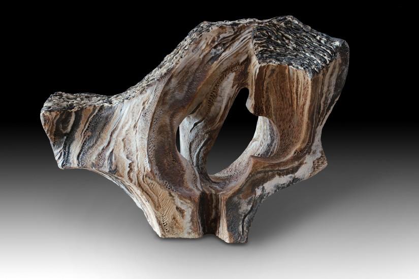 """OAK FIREWOOD SCENT (Olor a leña de encina) by Juan Ramon Gimeno _2013) 22"""" x 9 """" x  16. 3/4 """" Ceramic Sculpture"""